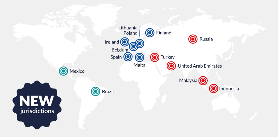 Infographic of the new jurisdictions covered in Chambers FinTech